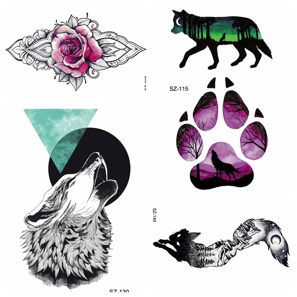 HOT Creative Wolf Temporary Tattoo Stickers Body Art Floral Women Makeup Fake Tatoos Black Wolf Paws Waterproof Tattoos Men Arm
