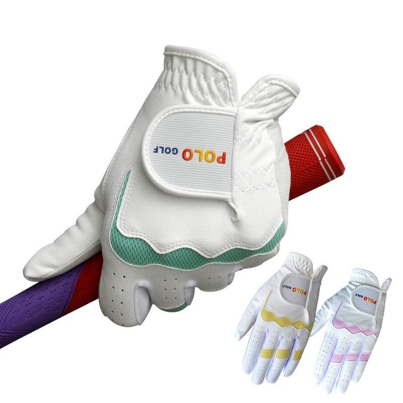e6c9565007 Marca POLO Novo Colorido Mulheres Luvas de Golfe Profissional PU Durável  sintético Gants de Golfe Luvas de Golfe Da Mão Esquerda   Direita luvas