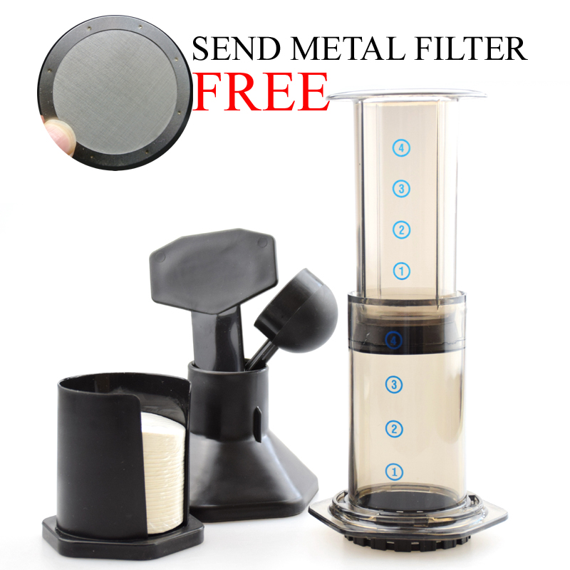 High Quality AeroPress Coffee Espresso Maker Coffee French Press Coffee Plunger with 350Pcs paper filter Metal