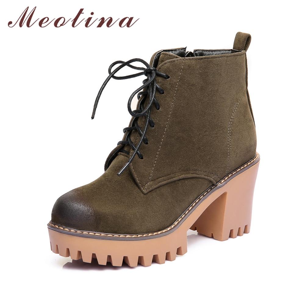 Meotina 2018 New Platform Ankle Boots Women High Heels ...
