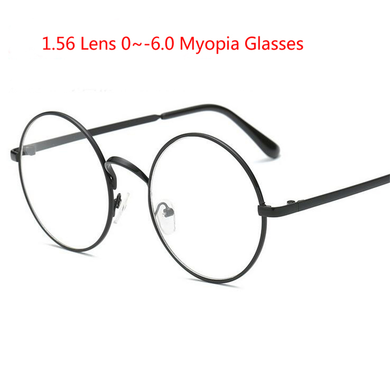 1.56 Asferische Mannen Ronde Metalen Brilmontuur Met Graden Retro Student Bijziendheid Bril Vrouwen Recept Brillen 0 ~- 6.0