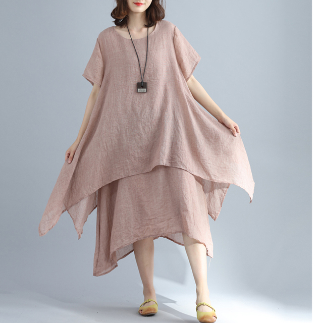 5ce39a85dd12 P Ammy 2018 Lagenlook Cotton   Linen Elegant Solid Color Long Linen Dress  Summer casual dress Plus Size O-Neck A-Line Dress