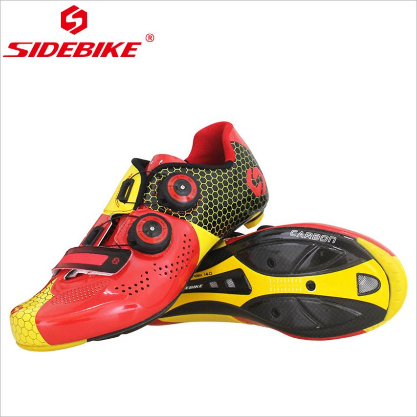 Red Black Carbon Fiber Road Shoes Ultralight Carbon Fiber Road Riding Shoes Men Sports Red Black Riding Lock Shoes Cycling Shoes spakct cool006 knuckle riding cycling gloves black white red xl 21cm
