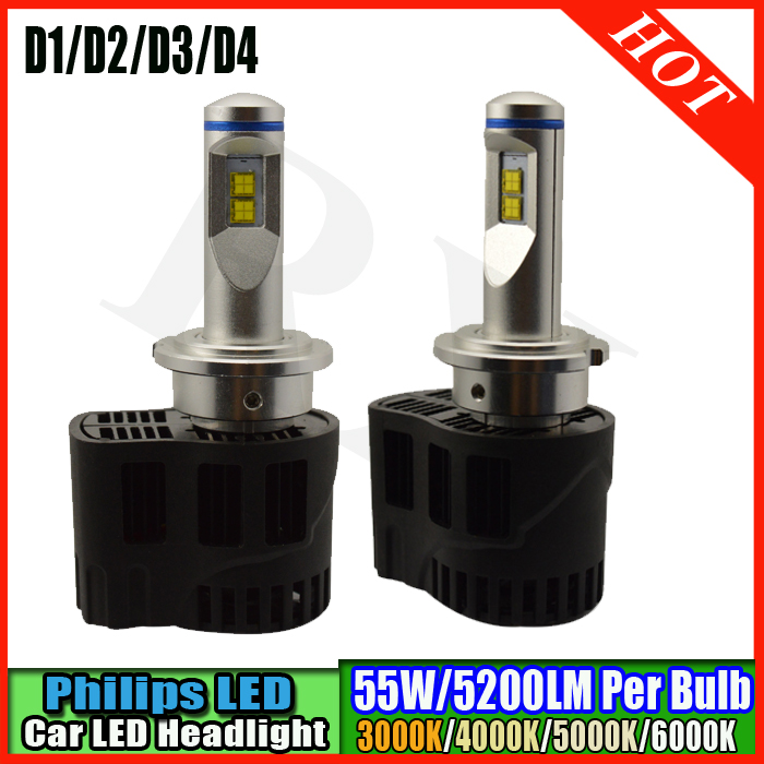 2pcs Car LED Front Headlight 10-30VV 110W D1 D2 D3 D4 P6 MZ LED Auto Light Parking Car Led Headlamp Styling 10400lm White Color