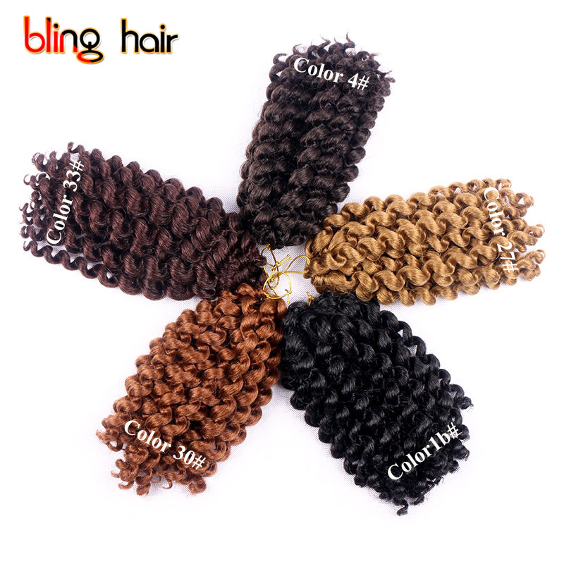 Bling Hair 10 Inches African Jumpy Wand Curly Twist Synthetic Twist Braiding Hair Extension Kanekalon Crochet Braids