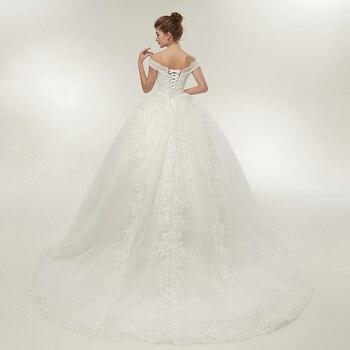 Fansmile Vestidos de Noivas Vintage White Long Train Wedding Dresses 2019 Plus Size Customized Lace Ball Bridal Gowns FSM-121T 3