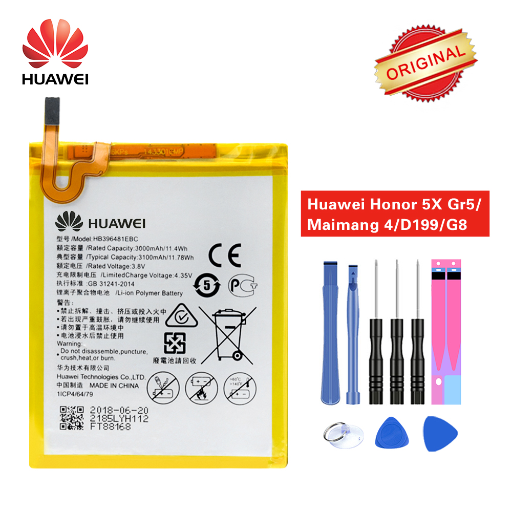 Modest Hua Wei Original Battery Hb396481ebc For Huawei Ascend G7 Plus Honor 5x 5a G8 G8x Maimang 4 L03 Ul00 Tl00 Al00 3000/3100mah Mobile Phone Parts Cellphones & Telecommunications