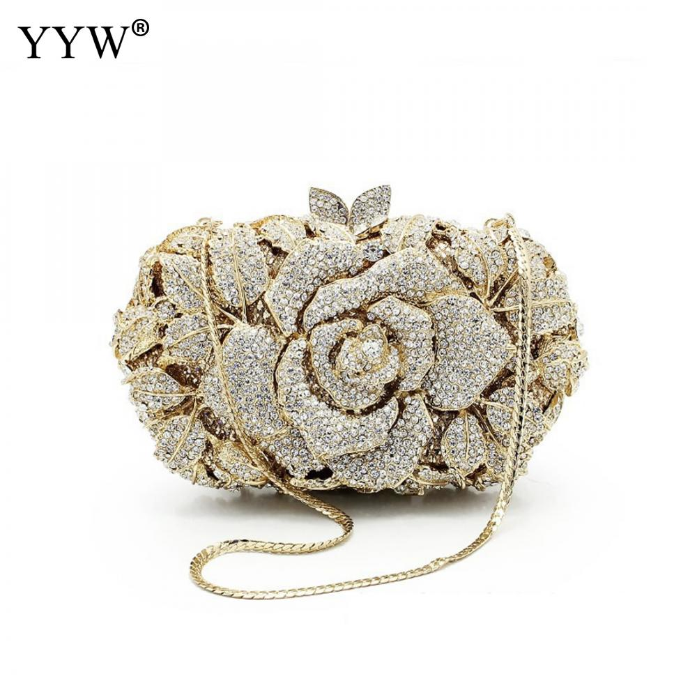 YYW Newest Flower Evening Crystal Bag Diamonds Rhinestone Clutch Evening Bag Female Party Purse Wedding Clutch Bag Bolsos Mujer