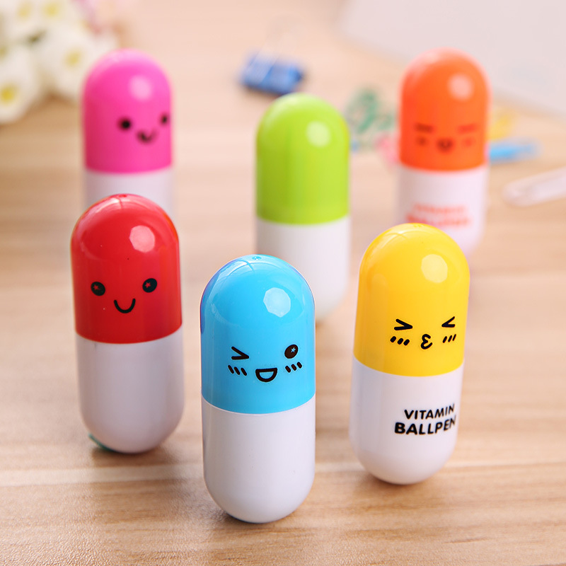 6pcs/lot novelty stationery smiling face pen pill Capsule Writing Ballpoint Ball Point Pen School  Stationary Supplies6816