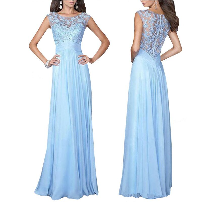 2017 New High Quality Sleeveless Womens Dresses Blue Color White Floor-Length Formal Dress For Women Beautiful Gowns L12