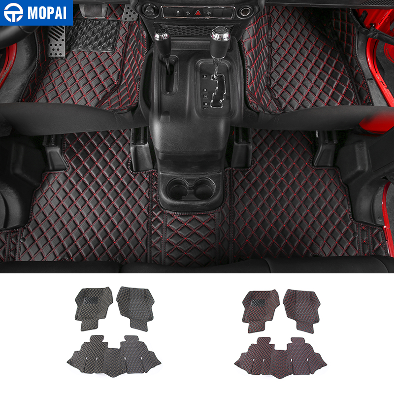 MOPAI Floor Mats for Jeep Wrangler JK 2007 2017 Leather Car Carpets Foot Mats Pads for