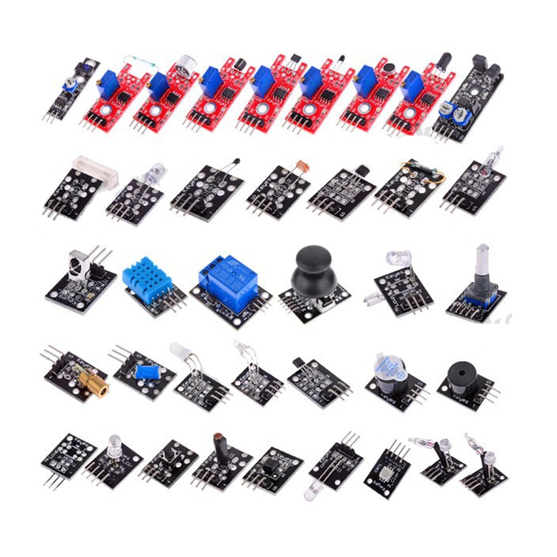 For arduino 37 in 1 Sensor Kit joystick/photosensitive/Sound Detection/Obstacle avoidance/buzzer/18B20 temperature sensor setFor arduino 37 in 1 Sensor Kit joystick/photosensitive/Sound Detection/Obstacle avoidance/buzzer/18B20 temperature sensor set