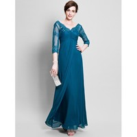 LAN TING BRIDE Ball Gown V Neck Floor Length Chiffon Mother of the Bride Dress with Beading Lace