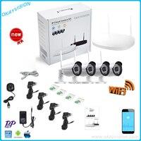 Nowa Oferta hd P2P Plug and Play Wireless NVR Kit z 4 sztuk 960 P HD Zewnętrzna kamera IR Night Vision Bezpieczeństwo Kamera IP WIFI System CCTV