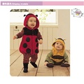 Polka Dot Baby outfits rompers Hooded body suits ladybug costumes fleece overalls baby boy clothes