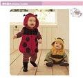 Polka Dot roupas de Bebê macacão Com Capuz ternos do corpo trajes macacão de lã joaninha do bebê roupas menino
