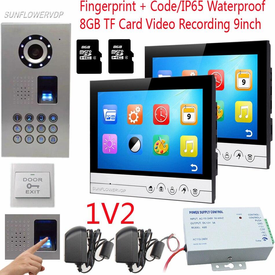 D'empreintes digitales Code Maison Vidéo Porte Téléphone 9 couleur 8 GB TF Carte Moniteurs IP65 Étanche Caméra Sonnette Pour L'appartement De 2 Unité