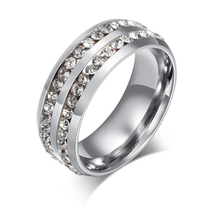 Титан Сталь инкрустация покрытие 2 кругов горный хрусталь Для мужчин кольца ювелирные аксессуары яркий блеск коктейльное кольцо Подходит Е...