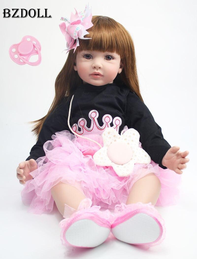 60 cm Silikon Reborn Baby Puppe Spielzeug 24 zoll Vinyl Prinzessin Kleinkind Babys Puppen Mädchen Geburtstag Geschenk Vorhanden Kind Spielen haus Spielzeug