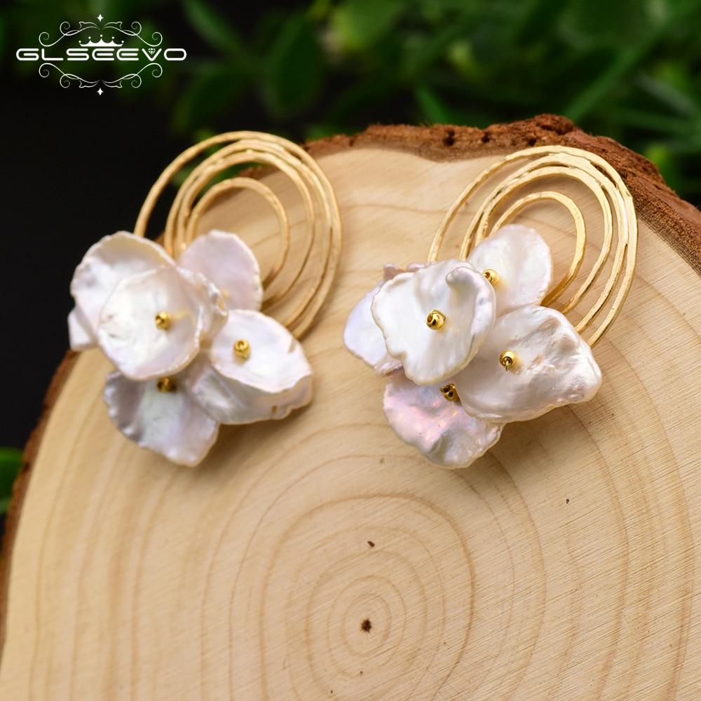 GLSEEVO Natural Fresh Water Baroque Pearl Handmade Boho Stud Earrings For Women Party Gifts Earrings Fine Jewelry Brincos GE0584-in Earrings from Jewelry & Accessories    1