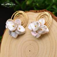 GLSEEVO Natural Fresh Water Baroque Pearl Handmade Boho Stud Earrings For Women Party Gifts Earrings Fine Jewelry Brincos GE0584
