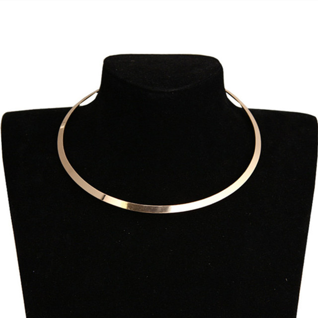 European and American Circle Bright Metal Collar Punk Women Choker Necklace Fashion Short Blade Chain Necklace Torques Jewelry