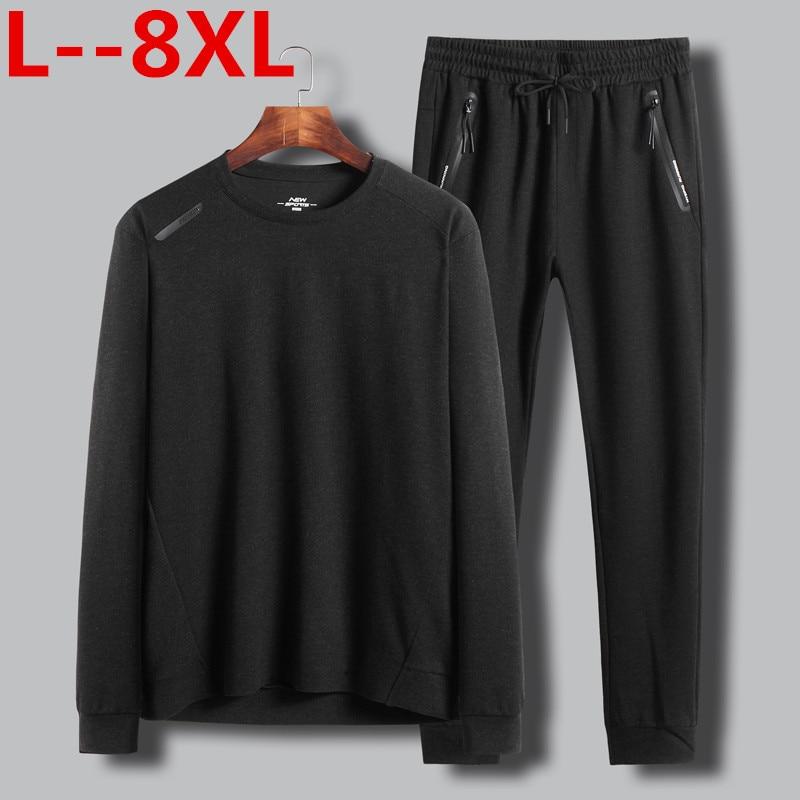 Плюс 8XL 6XL 5X 2 в 1 Новая Осенняя Хлопковая мужская футболка, ультра низкая цена, Мужская футболка с длинными рукавами, круглый вырез, чистый цве...