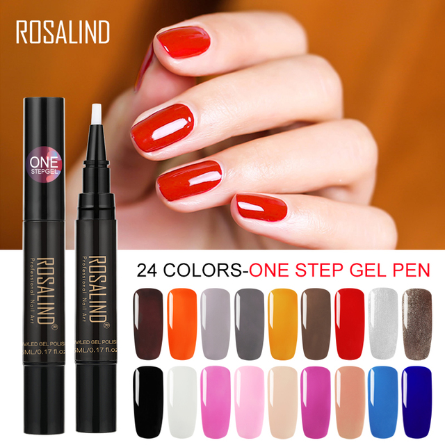 ROSALIND 3 in 1 One Step Nail Gel Pen Crystal Varnish Polish Easy Use Nail Art Vernis Semi Permanent Gel Lak Polish for Manicure