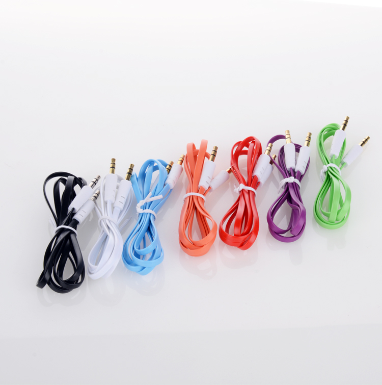 100pcs/lot New 3.5mm Male to Male 1m Stereo Audio Jack AUX Cable For Tablet Phone pod MP3 MP4  with tracking    1
