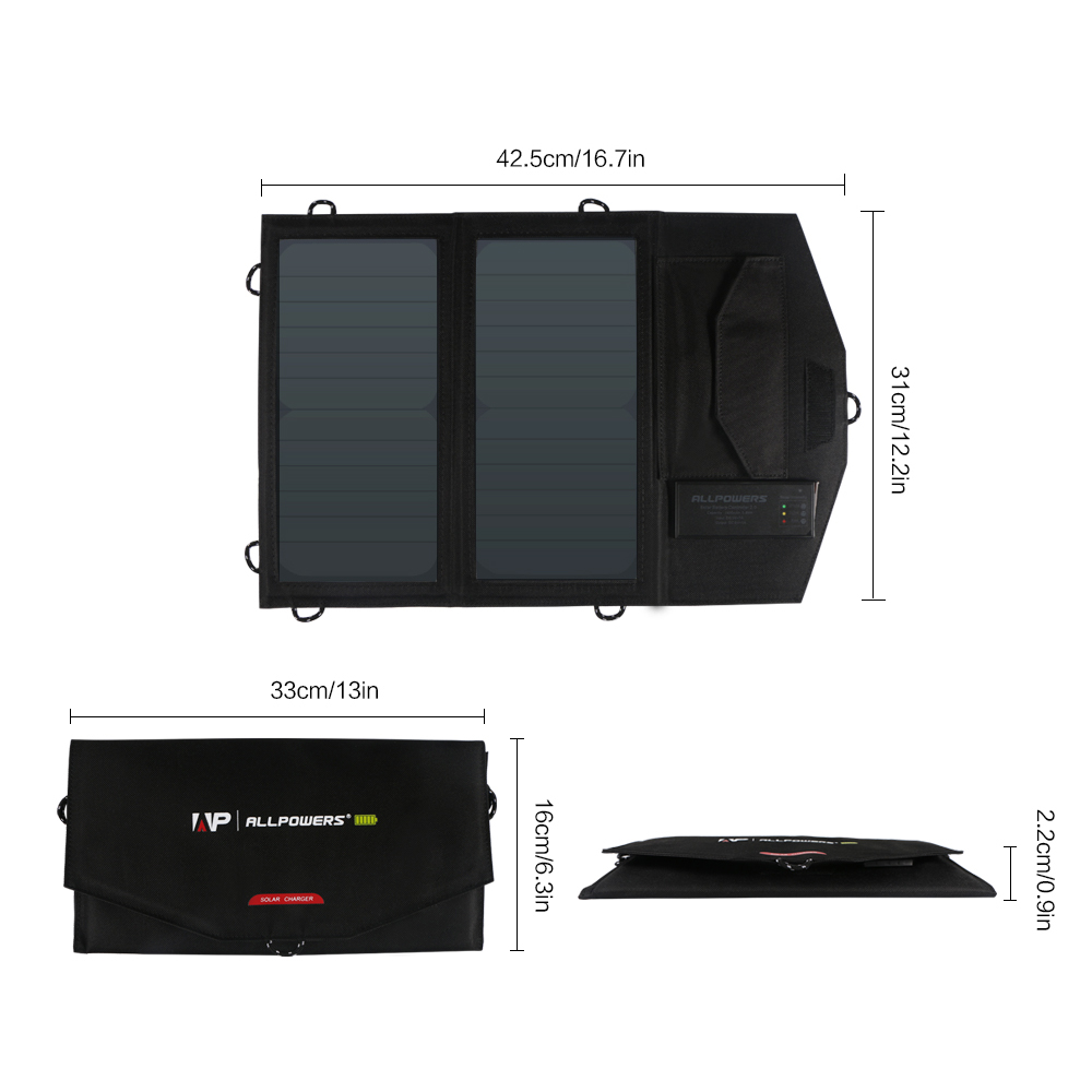 ALLPOWERS New Arrival Rechargeable Solar Panel Chargers  for Honor Xiaomi Samsung iPhone X iPhone 7 iPhone 8 Oppo Vivo etc.