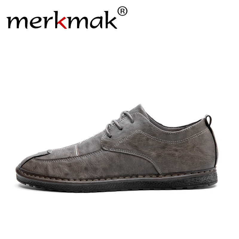 Merkmak Loafers Men Monk-Shoes Non-Slip Comfortable Flat Casual Fashion Summer Man Lace-Up