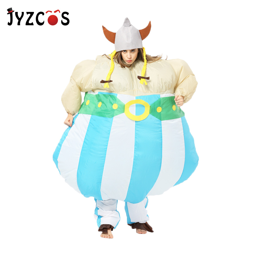 JYZCOS Viking Inflatable Costume Vikinger Cosplay Costume Purim Halloween Carnival Costume for Adult Men Women Party Fancy Dress