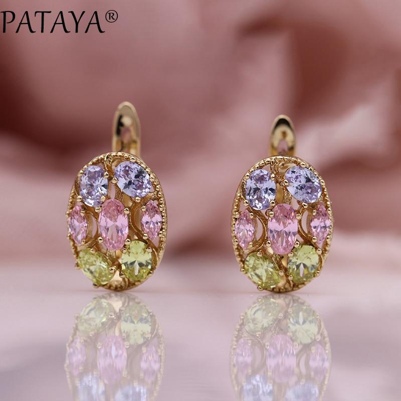 PATAYA New Pink Color Oval Earrings Women Fashion Fine Jewelry 585 Rose Gold Micro Wax Inlay Blue Natural Zircon Dangle Earrings