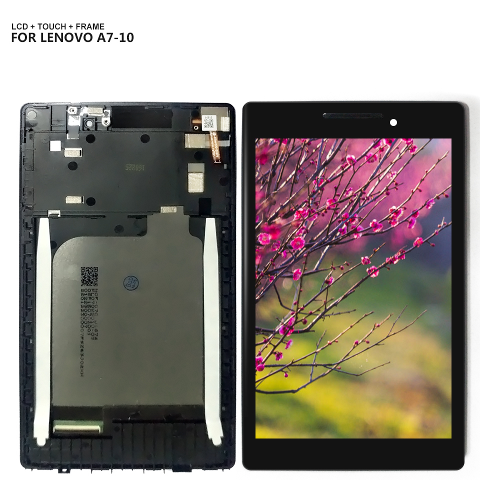 For Lenovo A7-10 A7-10F A7-20 A7-20F LCD Display Touch Screen Digitizer Assembly With Frame for lenovo tab 2 a7 10 a7 10f a7 20 lcd display screen in stock free shipping