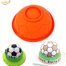 Delidge 1 PC 3D Art Soccer Ball Sports Silicone Mold Cake Chocolate Mousse DIY Tools Bakeware Pastry Candy Sugar Paste