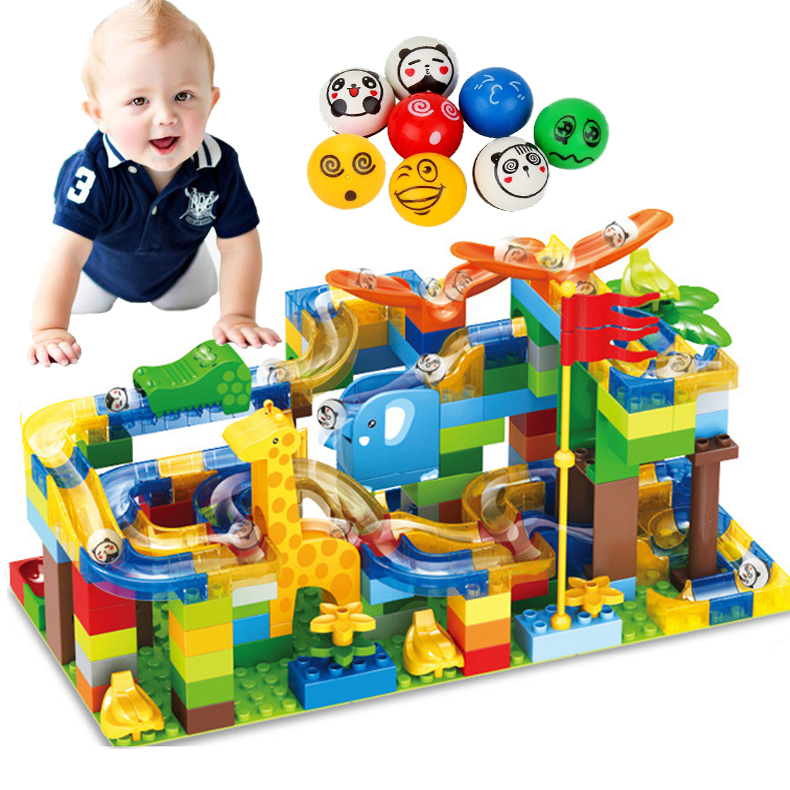 168 PCS Marble Race Run Slide Brick Maze Ball Track Building Block Plastic ABS Compatible Legoed Duplo Slide Building Block Toy