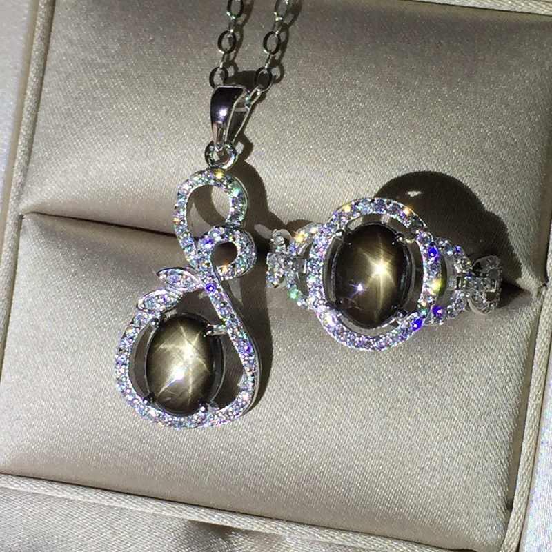 KJJEAXCMY đồ trang sức Mỹ, 925 Sterling Silver Inlay Sapphire Tự Nhiên Nữ Necklace Set