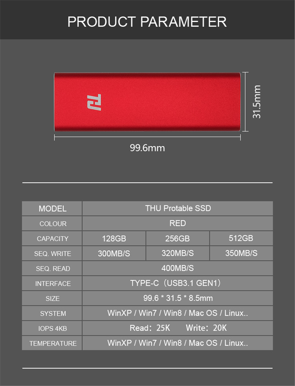 THU Mini Portable SSD 128GB 256GB 512GB 1TB USB3.1 400MB/s External HD Solid State Drive for PC Laptop Notebook(RED)