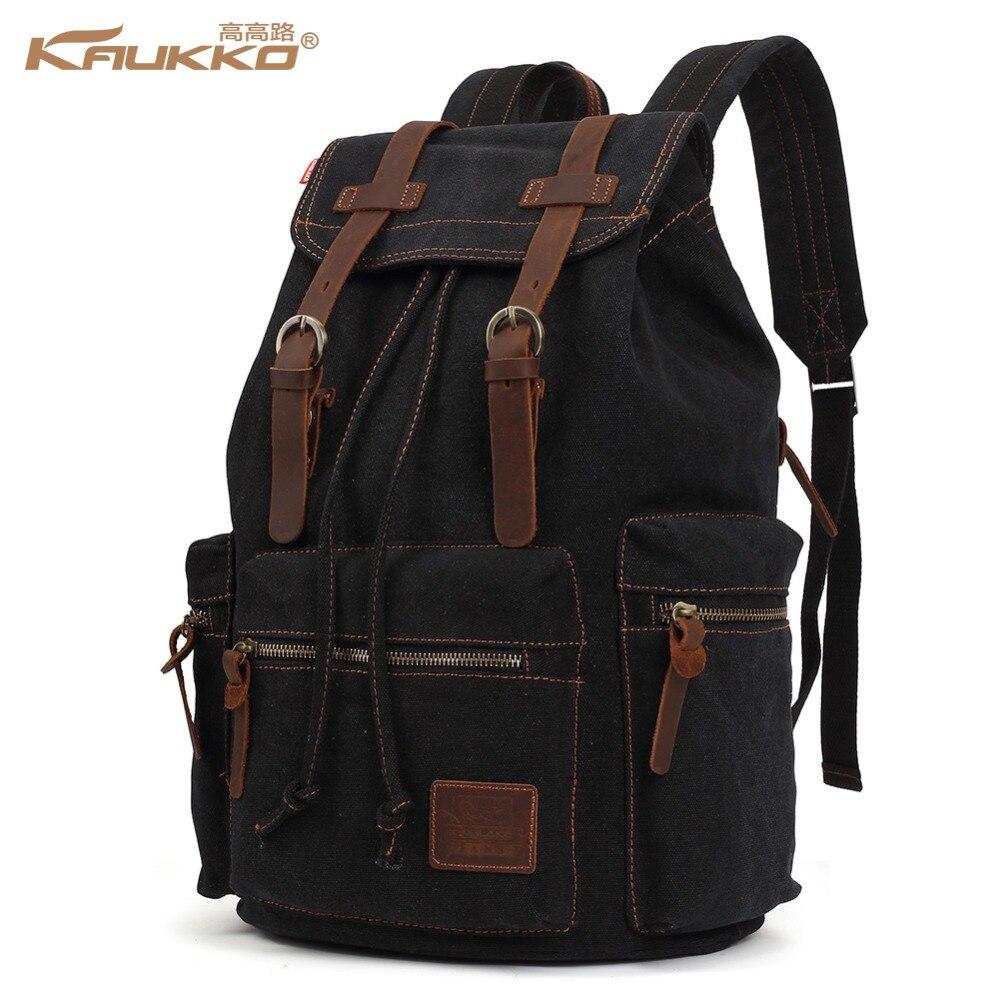 Vintage Rucksack Bag Canvas Computer Laptop Travel Bags Large Backpack For School
