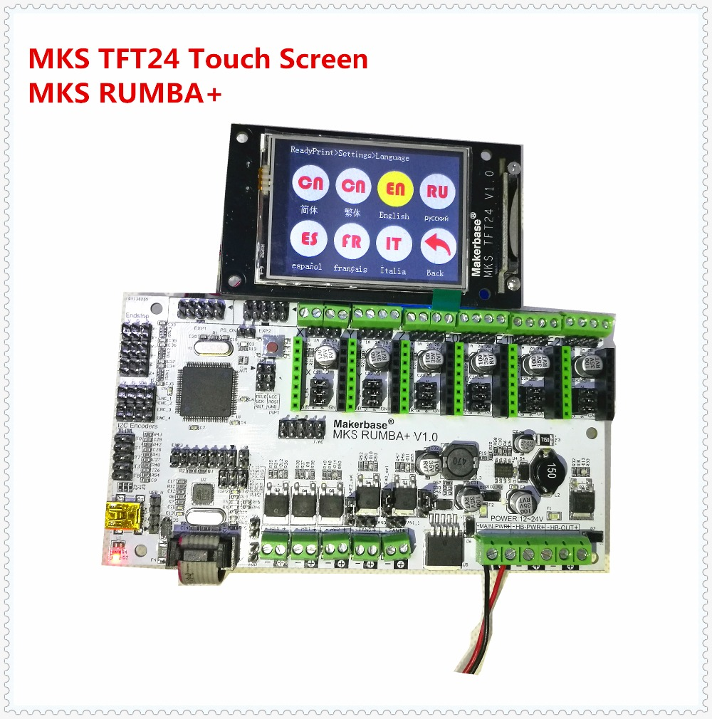 3D printer motherboard MKS Rumba + MKS TFT24 display 2.4 inch touch screen LCD controller card Rumba-board electronic diy kit 7 inch lcd touch screen display of the on board computer diy kit