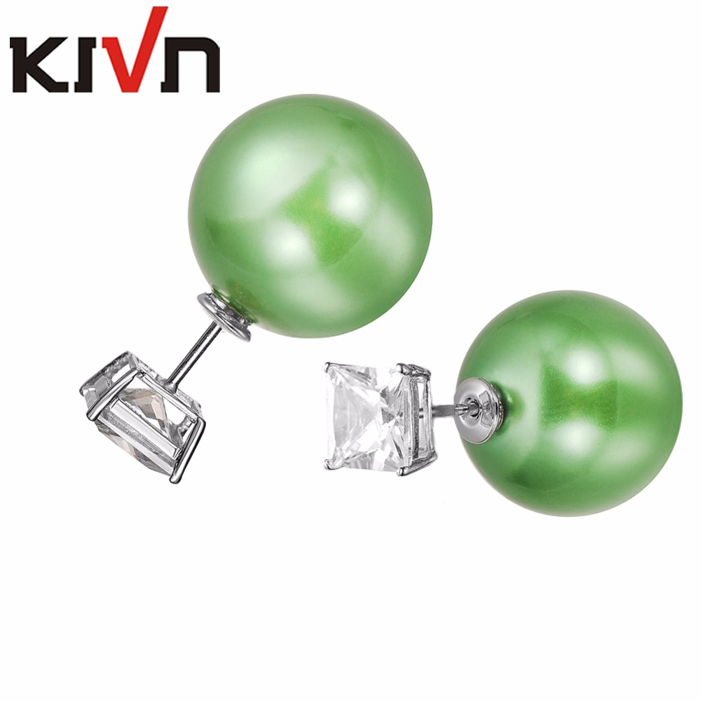Generous Kivn Jewelry Square 8x8mm Cz Cubic Zirconia Stud Two Double Sided Simulated Pearl Earrings For Women Birthday Christmas Gifts To Suit The PeopleS Convenience Jewelry & Accessories Stud Earrings