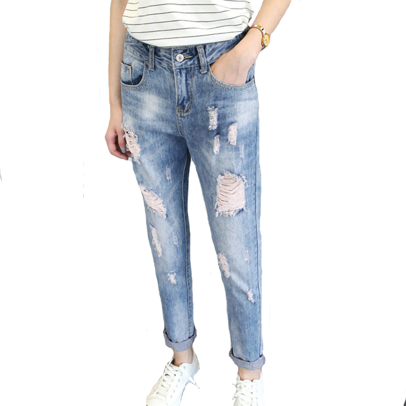 Boyfriend Style Jeans For Women 2016 New Fashion Summer Loose Holes Denim Harem Pants Ripped