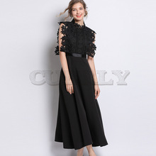 Cuerly  HIGH QUALITY Newest Fashion 2019 Designer Runway Dress Womens Sleeveless Mandarin Collar Lace Patchwork Long Dresses