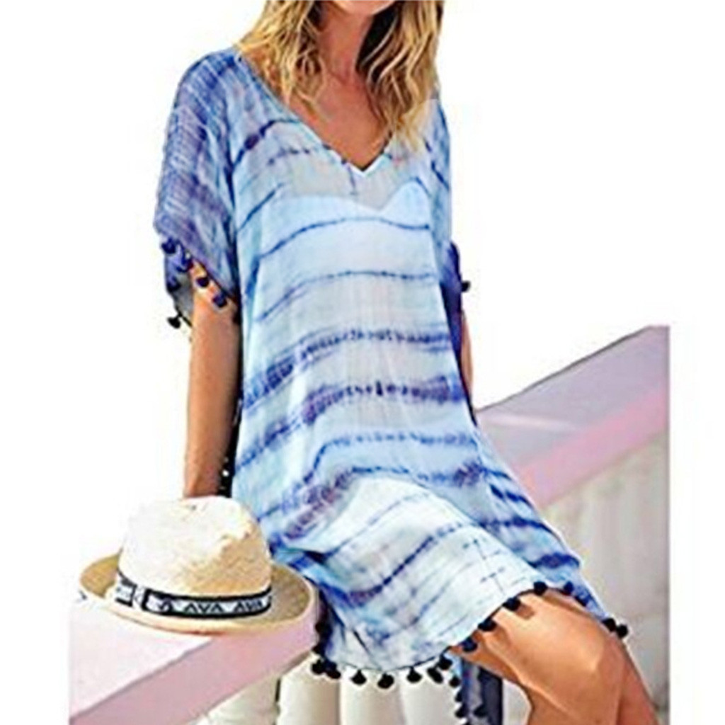 2019 Women Sexy Print Beach Dress Patchwork Beach Tunic Swimsuit Cover Up Kaftan Bikini Swimwear Cover-Ups With Tassel Pareo