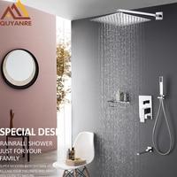 Quyanre RU Shipping Chrome Shower Faucets Set Ultrathin Rain Shower Head Brass Mixer Tap Swivel Tub Spout Bathroom Shower Faucet