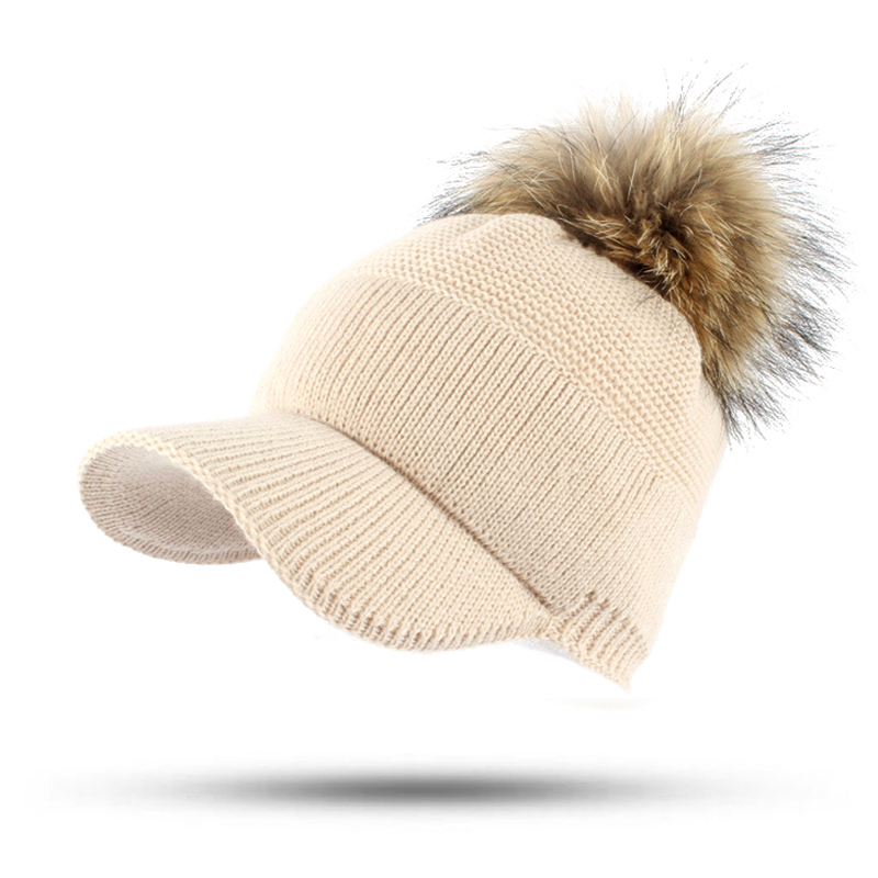 2017 Snapback Raccoon Fur Pompom Hats Female Knit Winter Solid Women's Hat For Men Unisex Knitted Baseball Caps Casquette Gorras 2016 new unisex solid knit beanie hat winter sports hip hop caps for men and women bonnet gorros 20 colors for choose