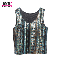 Summer Vintage Geometric Colorful Sequin Top Round Neck Women Sexy Short Sequins Tank Top Glittering Vest