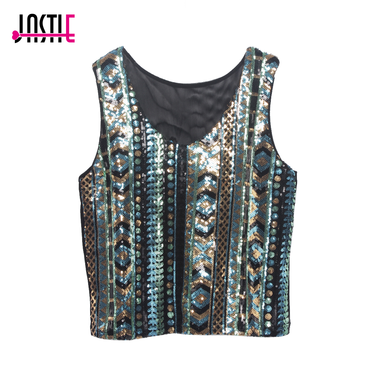 Jastie Summer Vintage Geometric Colorful Sequin   Top   Round Neck Women Sexy Short Sequins   Tank     Top   Glittering Vest Crop   Tops