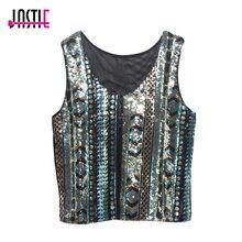 Jastie Summer Vintage Geometric Colorful Sequin Top Round Neck Women Sexy Short Sequins Tank Top Glittering Vest Crop Tops