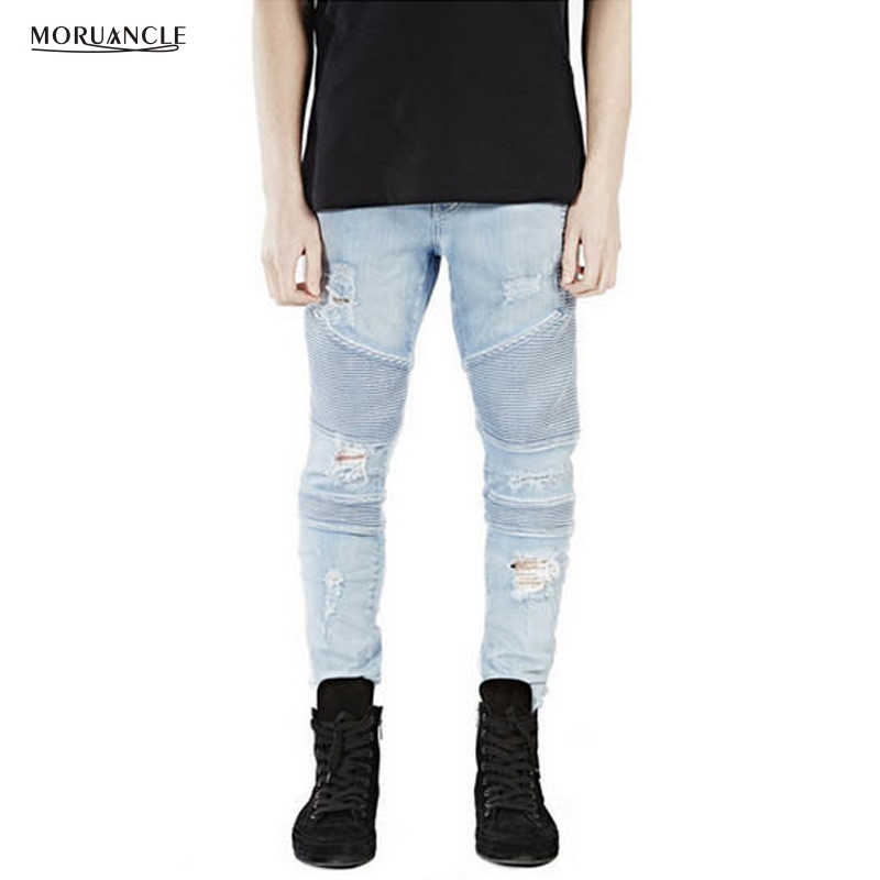 MORUANCLE Histreet Men Ripped Biker Jogger Jeans Skinny Stretchy Denim Pants Male Washed Destroyed Moto Trousers